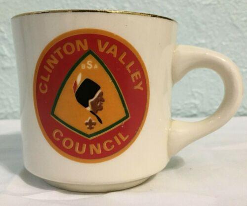 Vintage Boy Scouts Mug / Coffee Cup Clinton Valley Council USA Pottery