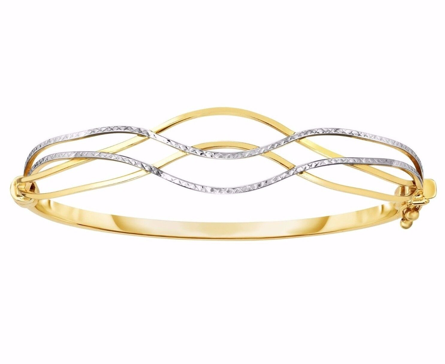 """Two-Tone Wavy Textured Bangle Bracelet Real Solid 10K White Yellow Gold 7/"""""""