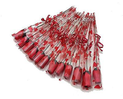 12 Single Red Wooden Roses in Cello Sleeve tied with Red Ribbon - Valentine's  - Red Wooden Roses