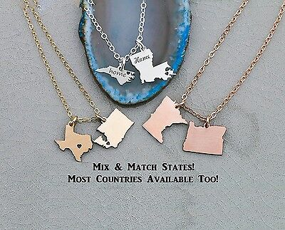 Two State or Country Necklace - IBD - Best Friend Gift with Custom Heart