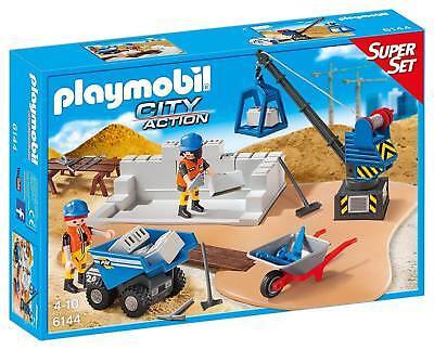 Playmobil 6144 - Superset Cantiere Edile Camion Gru Cariola Costruzioni City Act