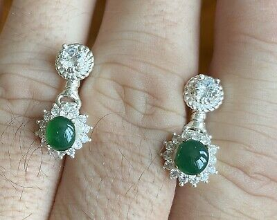 Very Pretty 2.00ct Green Grade A Burma Jadeite Jade Cabochon Pair & Certificate