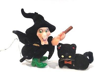 Vintage Halloween Black Felt Decorations Pics Witch & Cat - Halloween Cat Pics