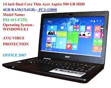 14 inch Dual Core Thin Acer Aspire ES1-411-500 GB HDD-4GB RAM St Marys Penrith Area Preview