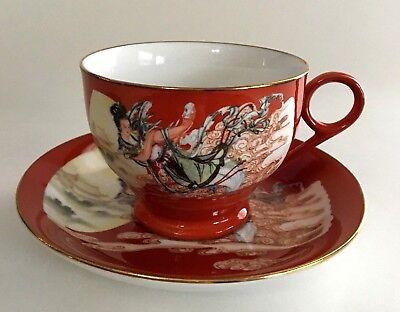 Antique Hand Painted Porcelain Soft Paste Pottery Cup /& Saucer Asian Scene