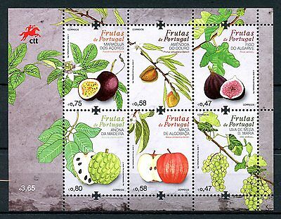 PORTUGAL 2017 MNH FRUIT FRUITS GRAPES FIGS APPLES 6V M/S PLANTS TREES STAMPS