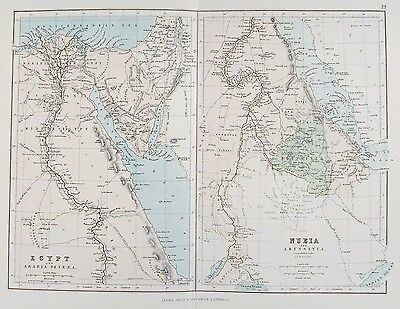 OLD ANTIQUE MAP EGYPT ARABIA MIDDLE EAST AFRICA c1879 by PHILIP NUBIA ABYSSINIA
