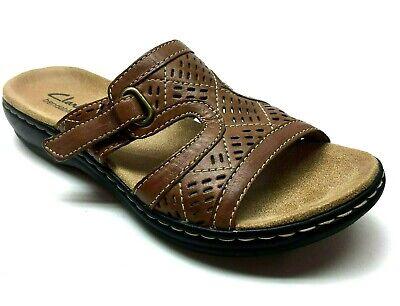 Clarks Brown Leather Platform Wedge Mules Slides Sandals Pumps Heels 6.5