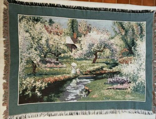 Goodwin Weavers Vintage Blanket MADE IN USA Spring Blossoms Trees Park Girl