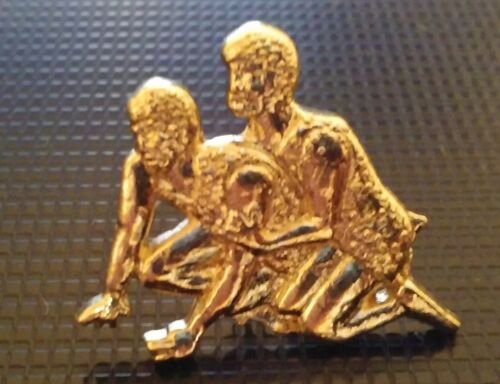 Wrestling pin High School Letterman Jacket Wrestler gold tone