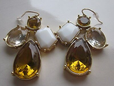 KATE SPADE CLUSTER PALACE GEM CRYSTAL COURT DROP EARRINGS WHITE GOLD TOPAZ MULTI