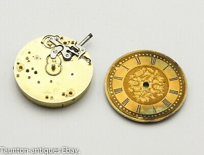 Rare Omega watch movement and gold tone dial spares antique pocket watch 8760
