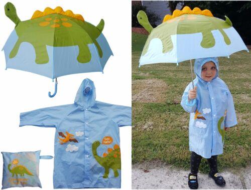 Dinosaur Print Pop-Up Umbrella & Raincoat Set-RainStoppers Children Kid Boy Dino