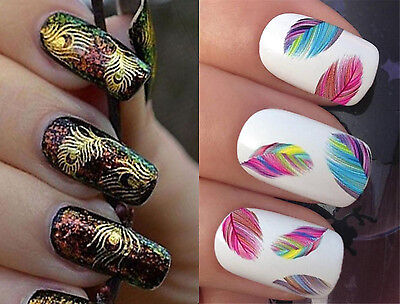 Color Gold Silver Feathers Nail Sticker Nail Art Design Polish Nail Accessories ()