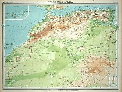 1920 LARGE MAP ~ NORTH-WEST AFRICA ~ WITH CANARY ISLANDS ~ 23