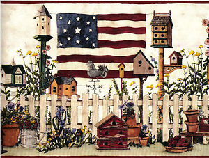 1 Roll Wallpaper Border Country Americana Flag Birdhouse