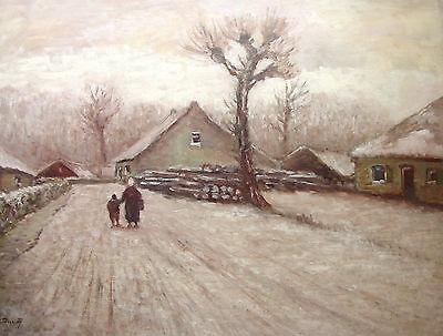 Winterspaziergang, Ölbild von Wolfgang Prinz, Düsseldorf,aus Galerieauflösung
