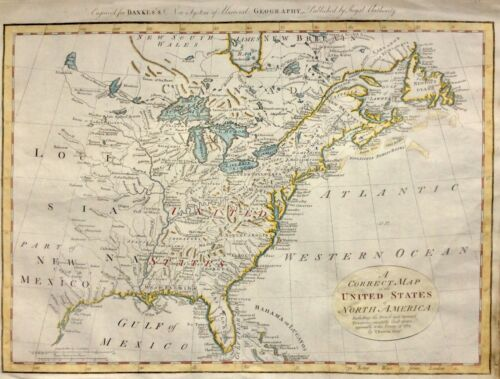 1784 Map United States of America by Thomas Bowen hand colour Original Antique
