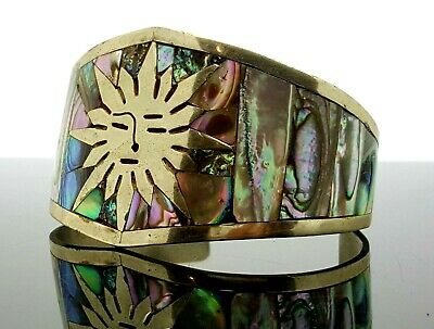 Large Sun and Abalone Inlay Hencho Cuff Bracelet for sale  Madison