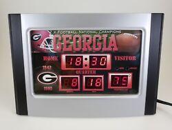 Georgia Bulldogs Dawgs Scoreboard Desk NCAA Alarm Clock w/Temp & Date DEFECTS