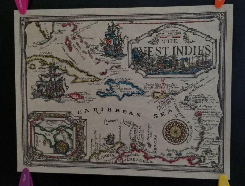 VTG.MAP WEST INDIES PIRATES SHIPS CARIBBEAN SEA ISLAND WORKSHOP 1965