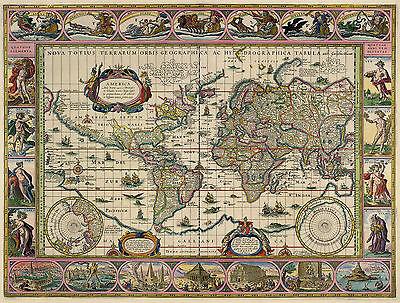 2 New Reproduktion Vintage Alt Farbe Farbe Karten Blaeu & Visscher Of der Welt