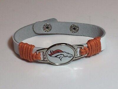 Leather Denver Broncos Bracelets - New Denver Broncos Leather Adjustable Bracelet, Gift for Her Mom Him Dad