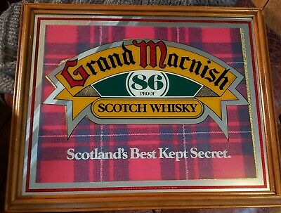 Vintage Grand Macnish Scotch Whiskey Advertising Mirror Bar Sign 22x18