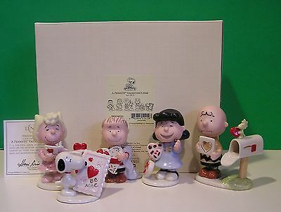 LENOX PEANUTS VALENTINE'S DAY 5 piece Set NEW in BOX with COA Snoopy Lucy Linus