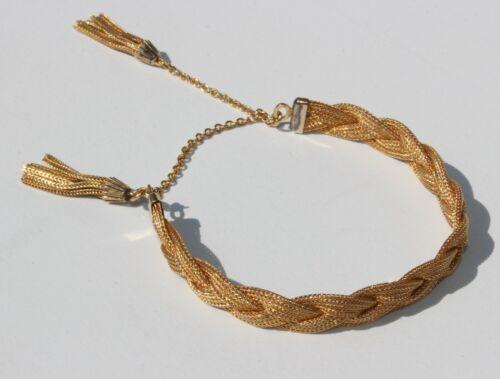 Antique Victorian L.MFG Co. 12K Gold Filled Braided Adjustable Tassel Bracelet