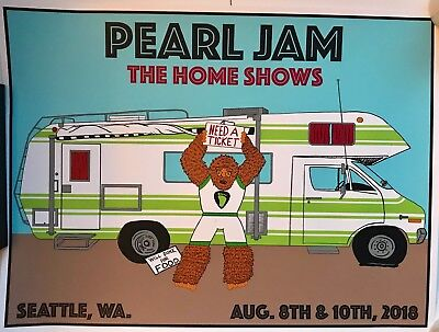 Pearl Jam seattle poster 2018 schuss the home shows safeco field pj tour