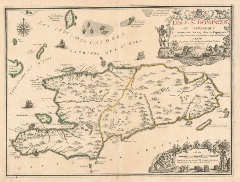 1723 De Fer Map of Hispaniola or Santo Domingo