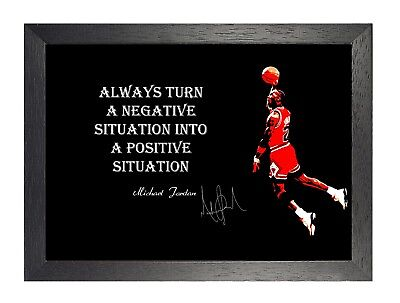 Michael Jordan Positive Motivation Zitat Poster Basketball Sport Signatur Foto