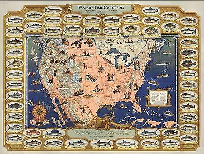 1947 Antique Map POSTER Game Fish Cyclopedia Fish illustrations 8501000