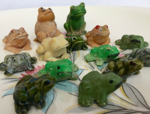 Set of 14 Vintage Ceramic Frog Figures Small Adorable Collectible
