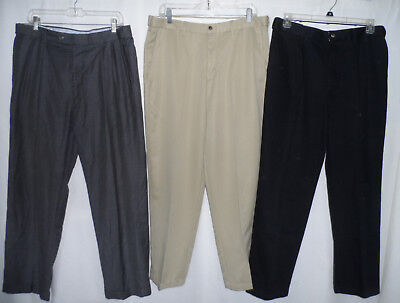 Navy Khaki Gray 36x30 Comfort Expandable Stretched Waist Men Dress Casual Pants Casual Pant Khaki