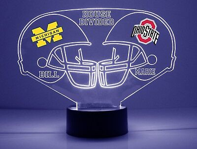 Michigan Wolverines Ohio State Buckeyes House Divided Personalized Night Light