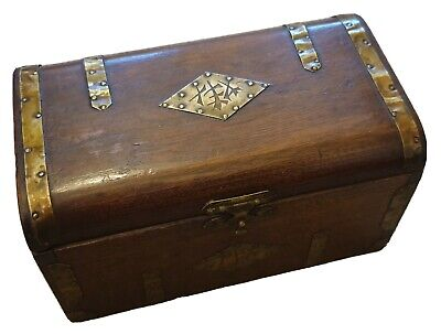 Chinese Style TEA Caddy Antique Vintage Wooden Metal Domed Lined Clasp