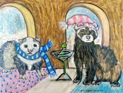 13 x 19 Pop Art Print Ferret Collectible Drinking Martinis by Artist KSams Gift