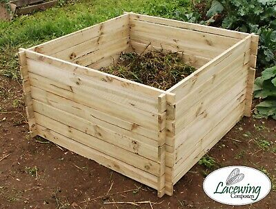 Wooden Compost Bin Composting Composter Garden Waste Bins Large 890L by Lacewing