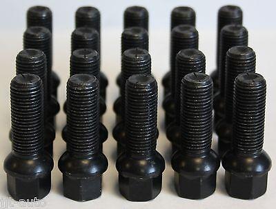 20 X M14 X 1.5 BLACK 35MM RADIUS WHEEL BOLTS FIT MERCEDES ML W163 W164 W166