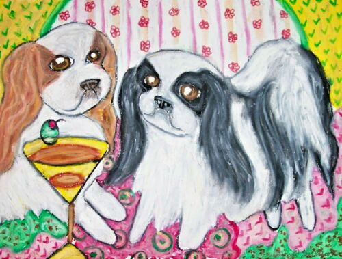 Japanese Chin with Martini Art Print 11 x 14 Signed Artist KSams Dog Collectible
