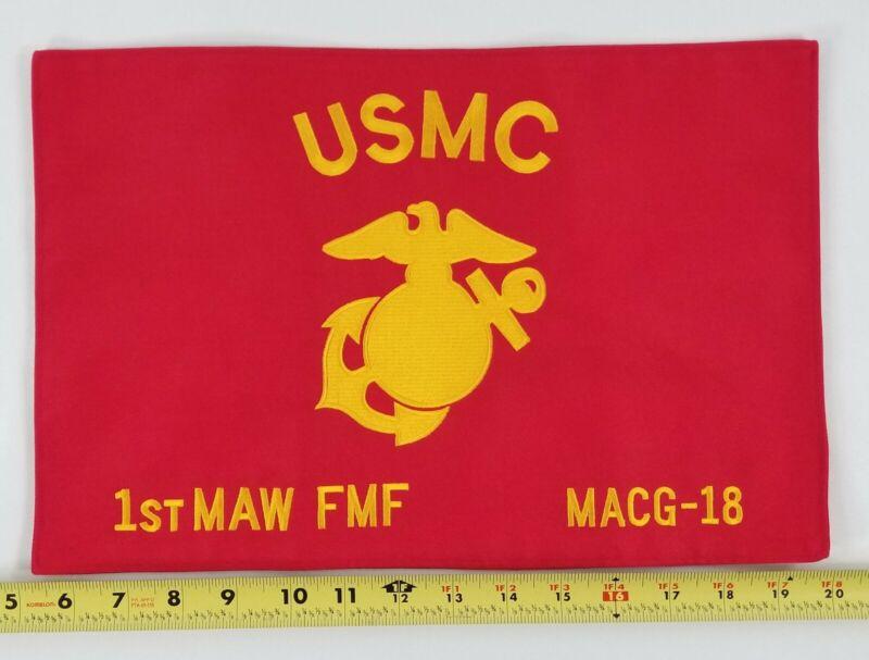 "USMC 1st MAW FMF MACG-18 EGA Embroidered Banner/Flag/Standard 15"" x 9.5 """
