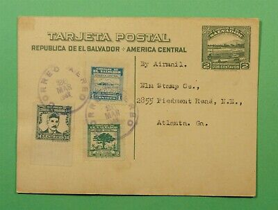 DR WHO 1947 EL SALVADOR UPRATED POSTAL CARD AIRMAIL TO USA C242985