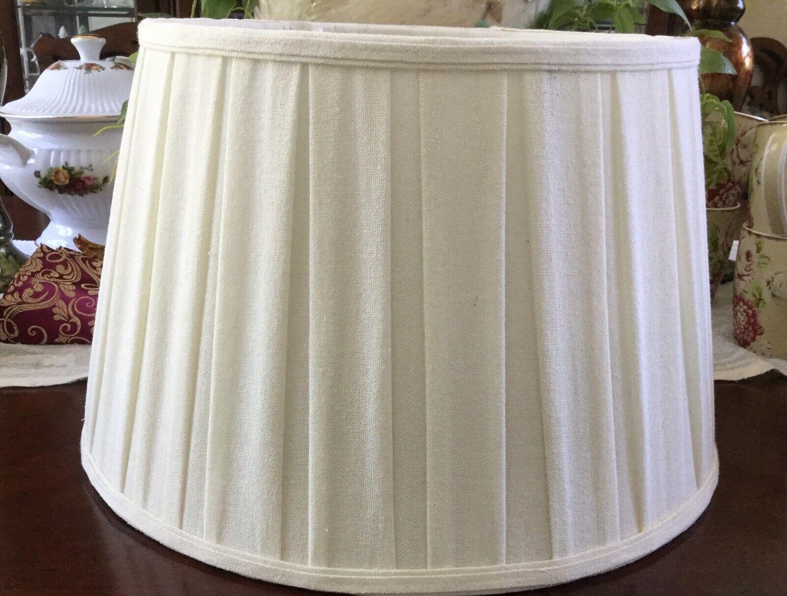 Large Pleated Empire Drum Lamp Shade Cream Ivory