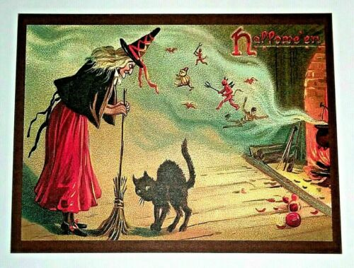 *UNUSED* Halloween Postcard: Witch & Demon Brew Vintage Image~Reproduction