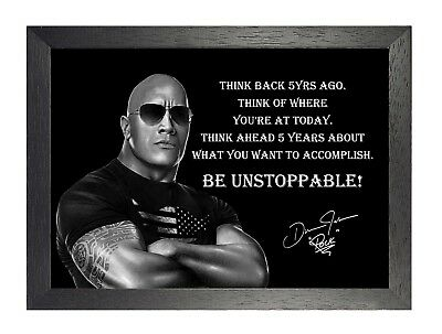 Unstoppable Poster (Dwayne Johnson The Rock Unstoppable American Actor Wrestler Quote Poster Photo )