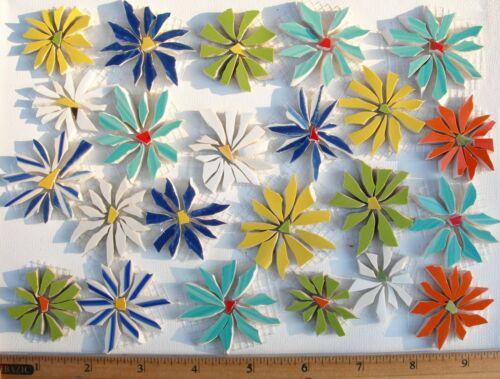 23 Daisy Mosaic Tile Set Mixed Size & Color Broken Cut China Plate Tiles