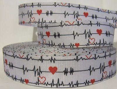 Heart Awareness Ribbon (GROSGRAIN HEART HEATHLY AWARENESS HEART BEAT 1