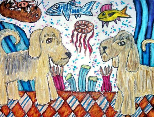 OTTERHOUND Visiting the Aquarium Dog Pop Folk Vintage Art 8 x 10 Signed Print